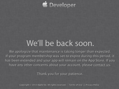 apple-developer-we-will-be-back-soon