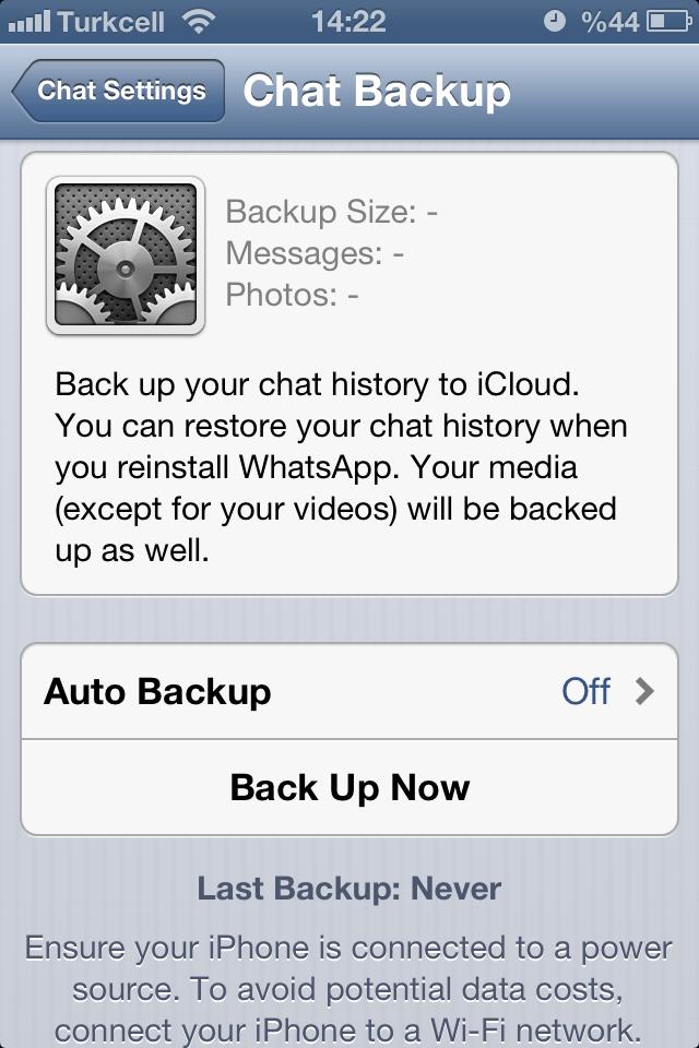 whatsapp cloud yedekleme