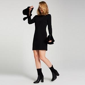 ipekyol-kollari-volanli-siyah-elbise